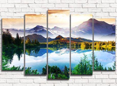 Модульная картина Волшебное озеро в горах