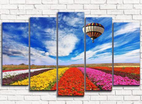 Модульная картина Воздушный шар над цветным полем