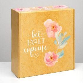 "Подарочная коробка ""С цветами"", крафт, 28,5 х 9,5 х 29,5 см"