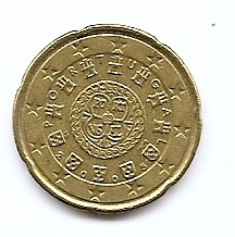 20 евроцентов Португалия 2005 регулярная из обращения