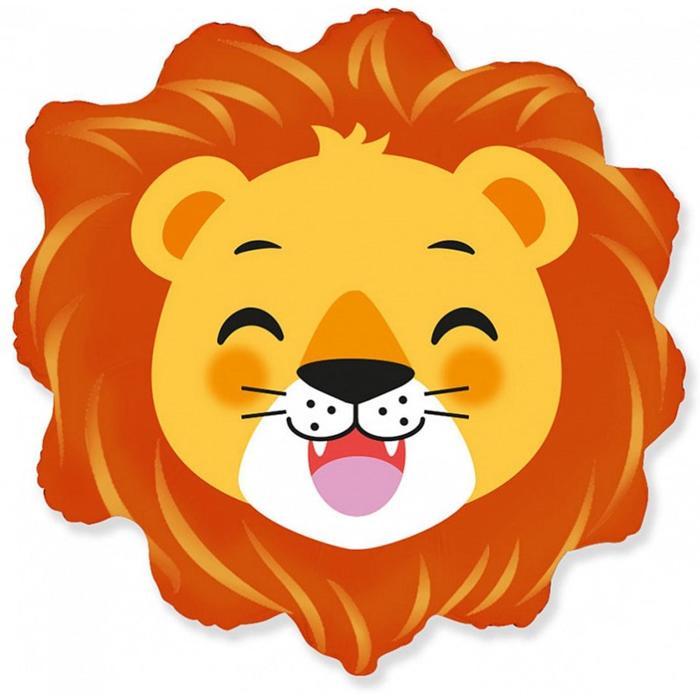 Львёнок голова шар фольгированный с гелием
