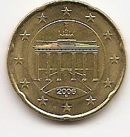 20 евроцентов Германия 2006 регулярная Двор F из обращения