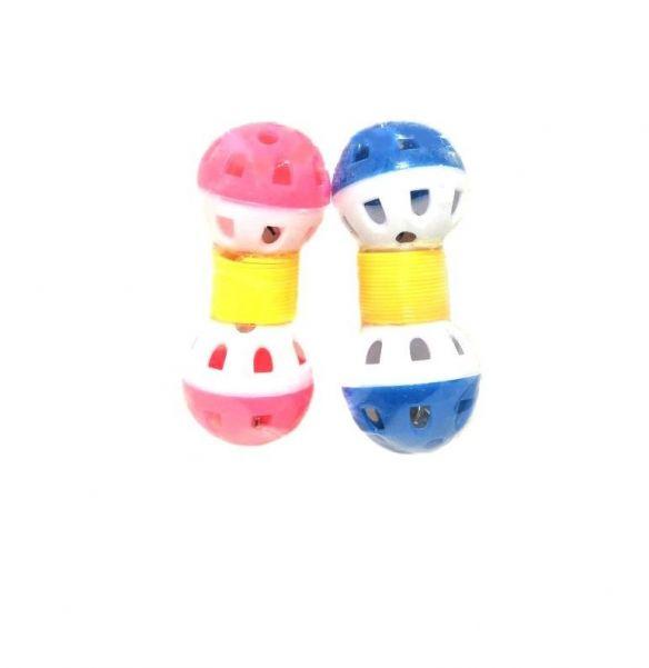 Игрушка для животных с бубенчиком Два шарика на пружинке 9х3 см, 2 шт