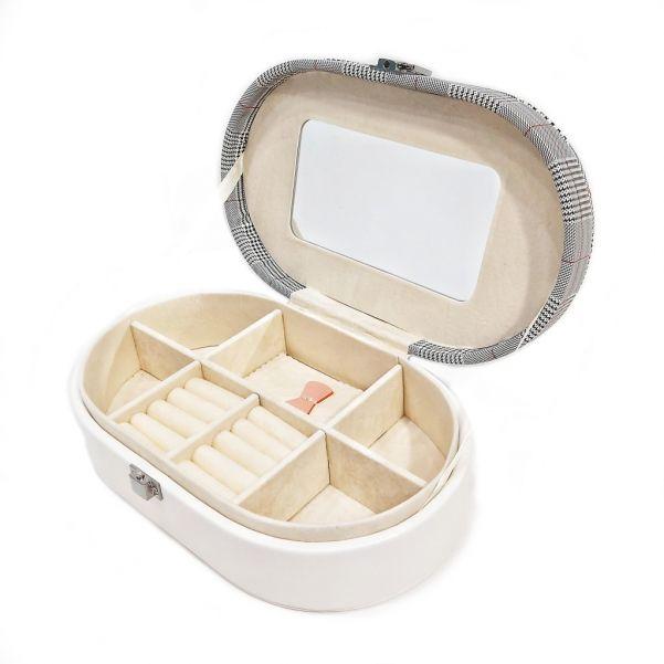 Овальная шкатулка для ювелирных изделий Клетка, 22.5х14х6.5 см