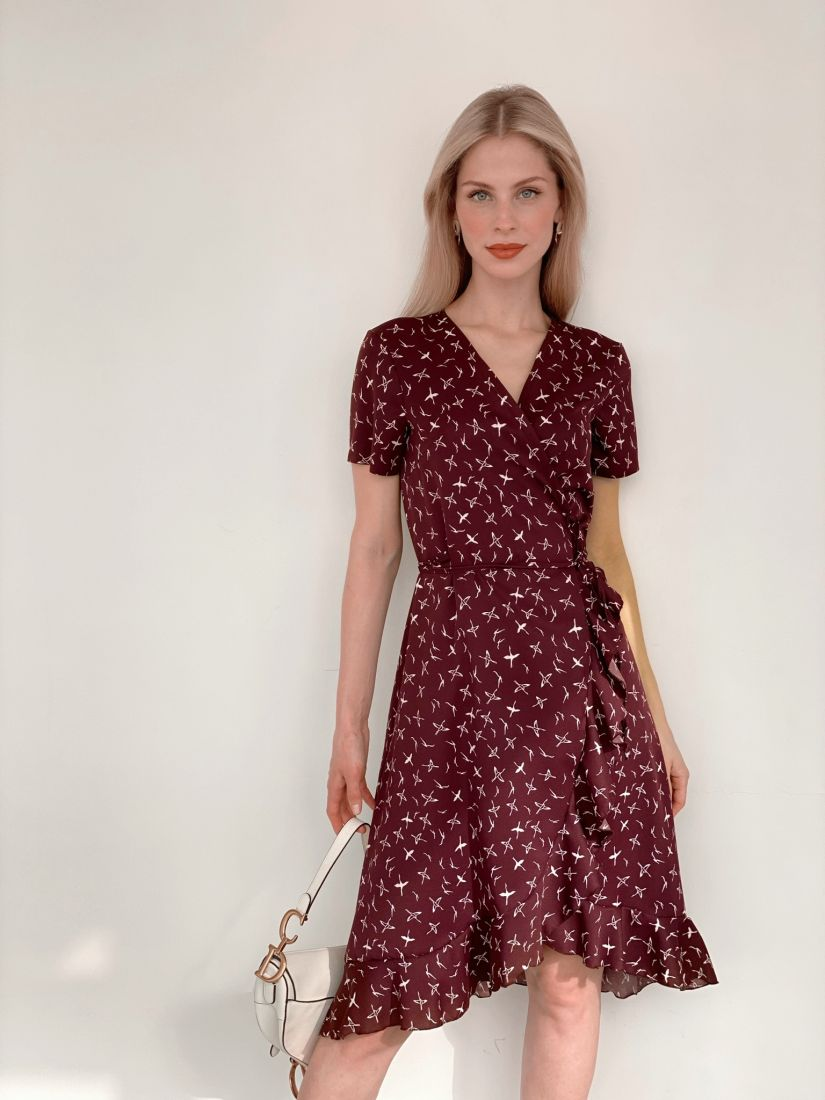 "s3941 Платье с запахом с птичками в цвете ""вино"""