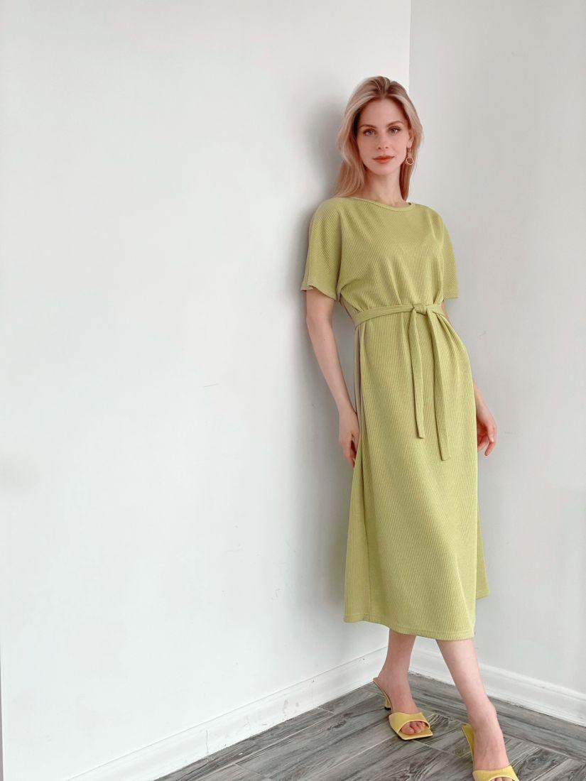 """s3945 Платье из тонкого трикотажа в цвете """"лимон"""""""