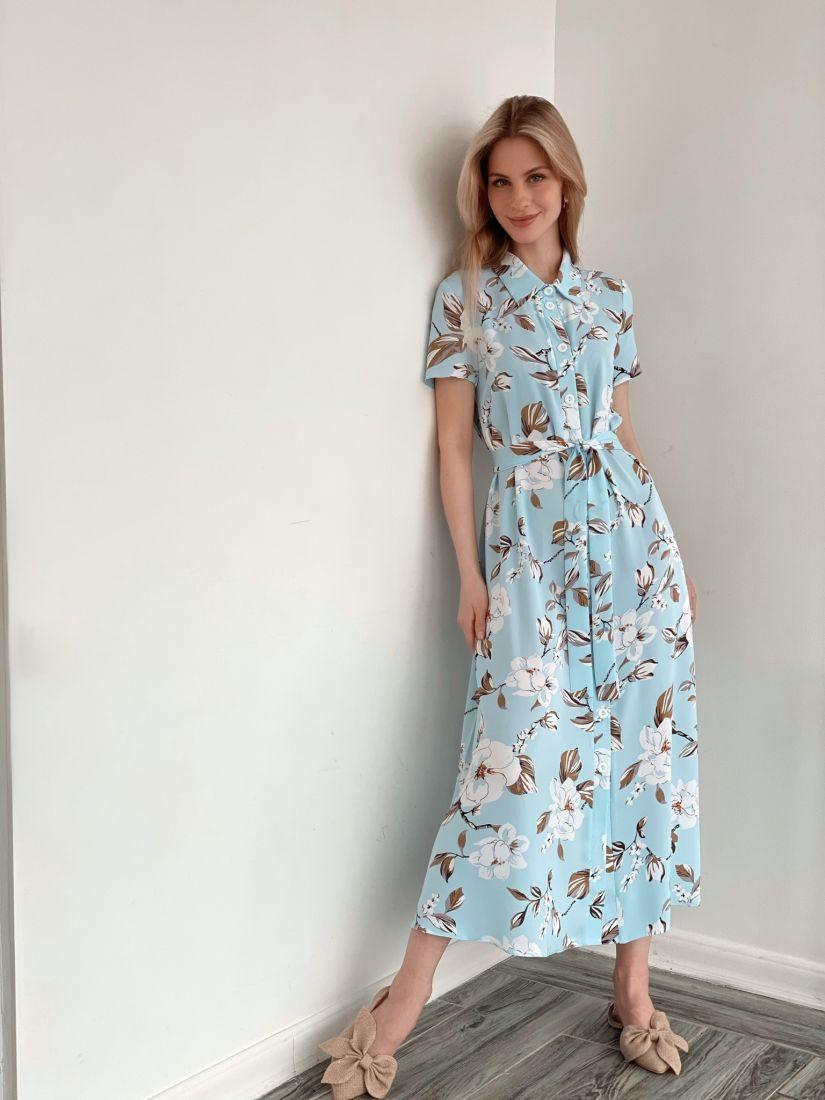 s3946 Платье-рубашка в пол голубое
