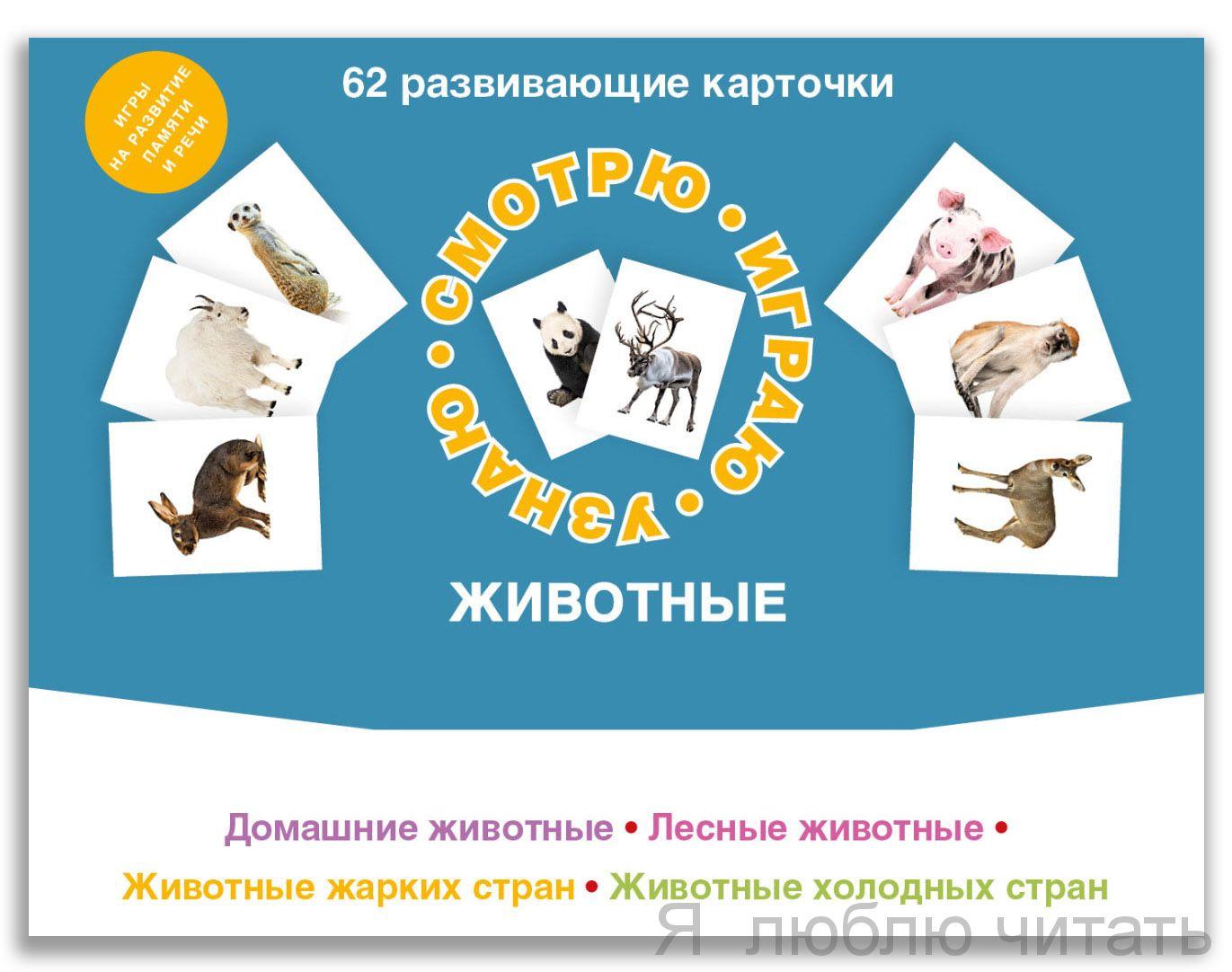 62 развивающие карточки. Животные