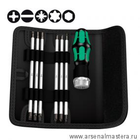 Набор отвёртка и биты с функцией трещотки  WERA Kraftform Kompakt Vario RA SB 073665