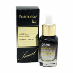 050818 FarmStay Ампульная сыворотка для лица с муцином черной улитки DR.V8 Ampoule Solution Black Snail