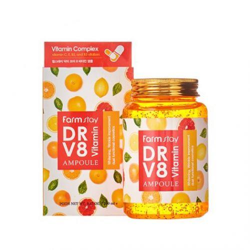 771217 FarmStay Многофункциональная витаминная сыворотка DR V8 Vitamin Ampoule
