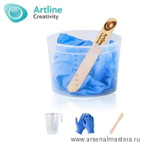 Комплект для работы с  эпоксидной смолой 3 предмета:  нитриловые перчатки, пластиковый мерный стакан и палочка для смешивания Artline RK-01-03