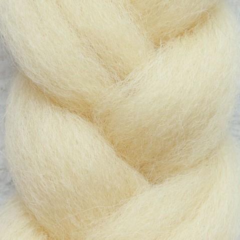 Пряжа шерсть для валяния кукольных волос - Молочный