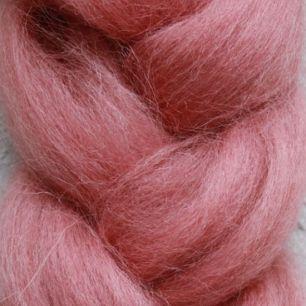 Пряжа шерсть для валяния кукольных волос - Брусничный зефир