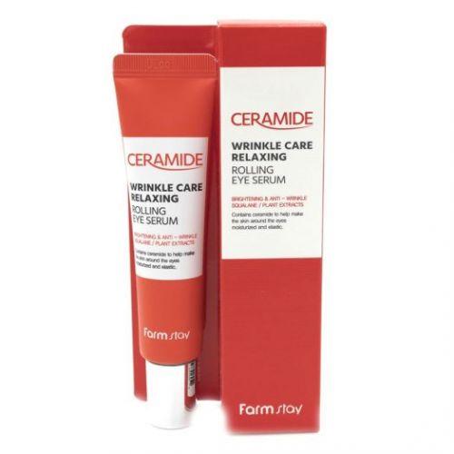 773129 FarmStay Укрепляющая сыворотка для кожи вокруг глаз с керамидам Ceramide Wrinkle Care Relaxing Rolling Eye Serum