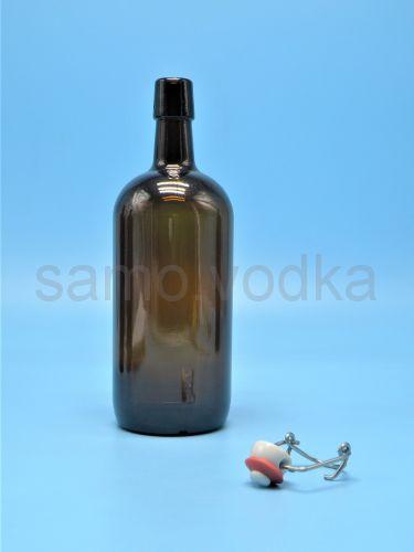 Бутылка 1 литр темная / бугель