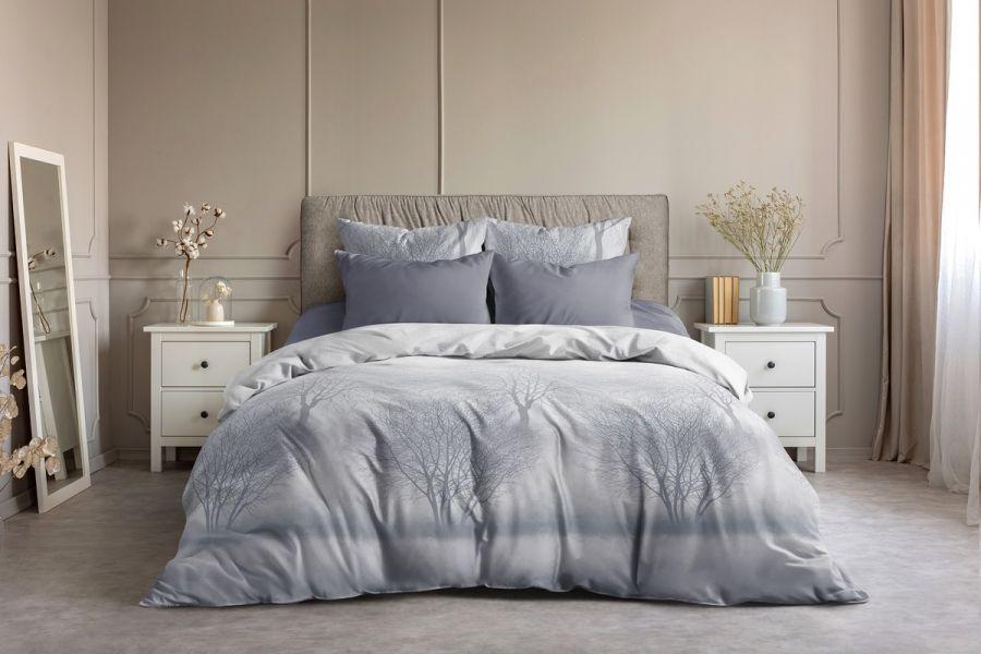 Поплин 1.5 спальный [в ассортименте] Лес  (простыня на резинке) постельное белье