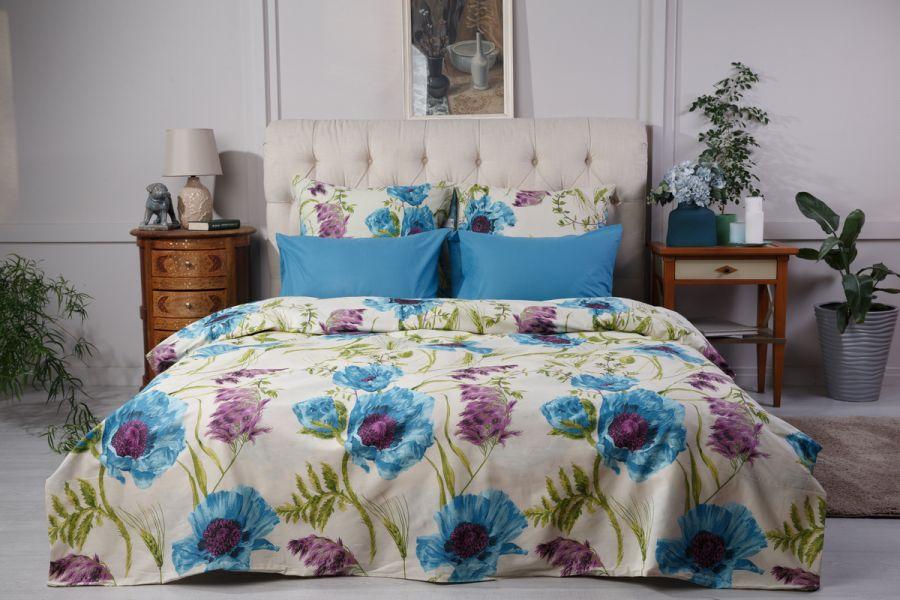 Поплин 2-х спальный [мурена] Маки  (простыня на резинке) постельное белье