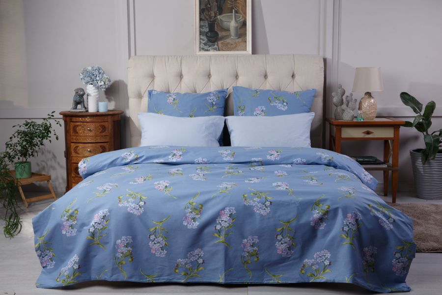 Поплин 2-х спальный с евро [в ассортименте] Незабудки  (простыня на резинке) постельное белье