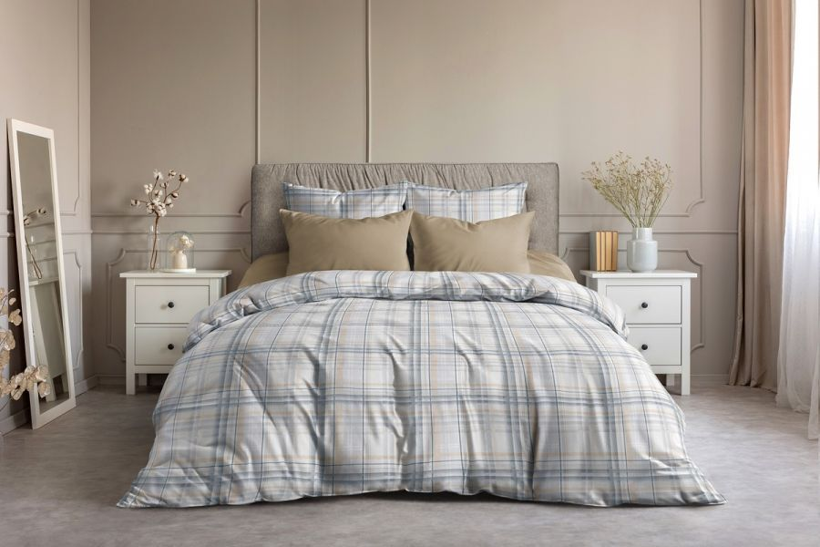 Поплин 2-х спальный с евро [кофе] Гарди  (простыня на резинке) постельное белье