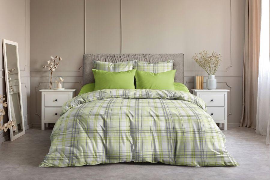 Поплин 2-х спальный с евро [лайм] Гарди  (простыня на резинке) постельное белье