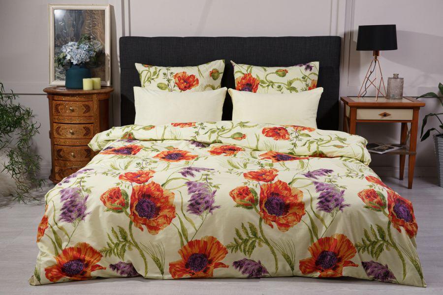 Поплин 2-х спальный с евро [лимонный] Маки  (простыня на резинке) постельное белье