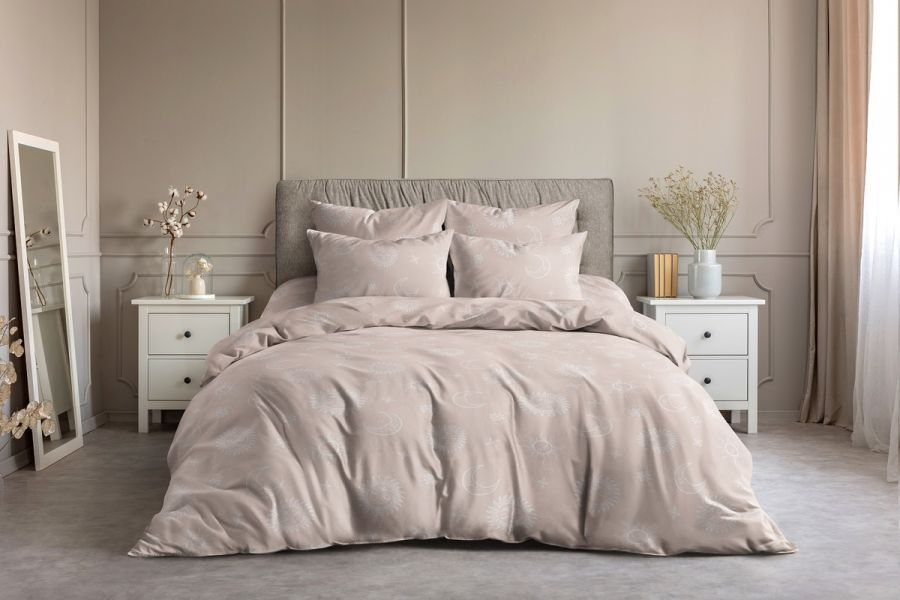 Поплин 2-х спальный с евро [розовый] Солнце и луна постельное белье