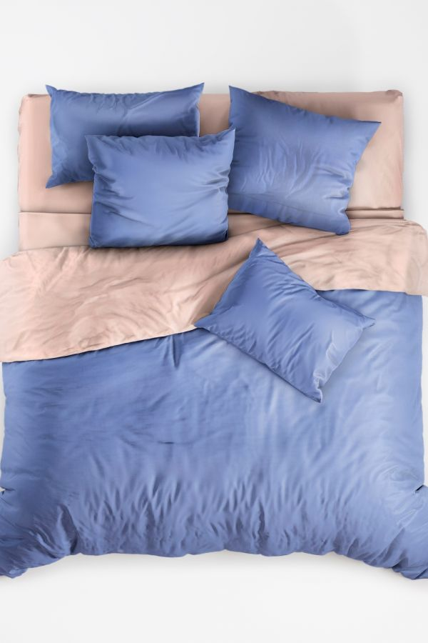 Поплин 2-х спальный с евро [в ассортименте] Васильковая роза постельное белье