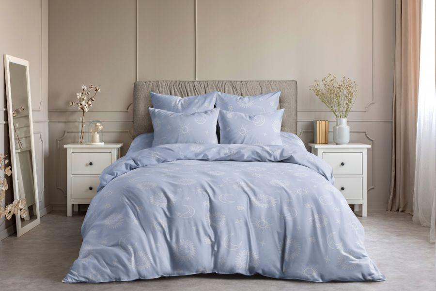 Поплин семейный [голубой] Солнце и луна постельное белье