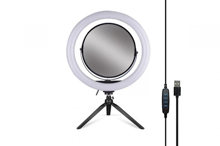 Кольцевая селфи LED лампа со штативом и зеркалом