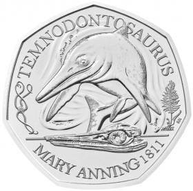 Темнодонтозавр  50 пенсов Великобритания  2021 блистер на заказ