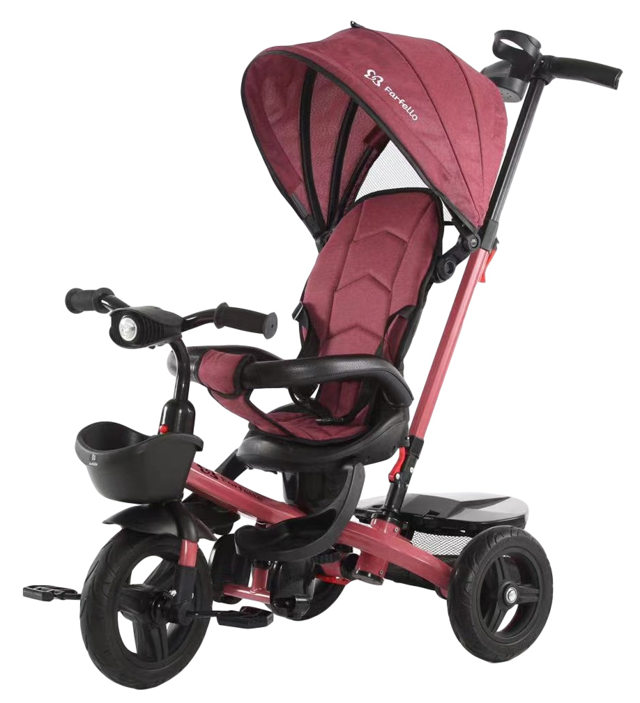 Детский трехколесный велосипед с родительской ручкой, вишневый / cherry