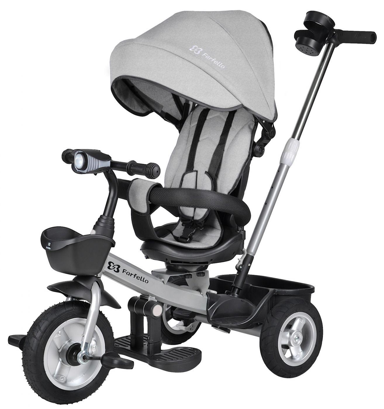 Детский трехколесный велосипед с родительской ручкой, серый / grey