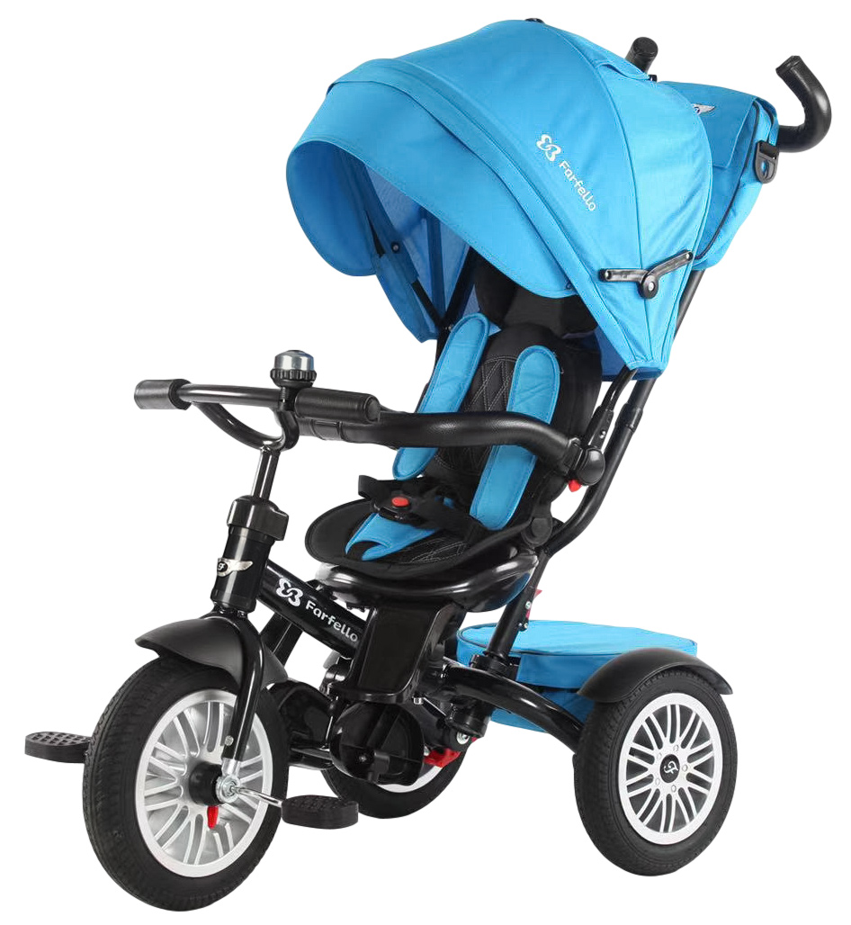 Детский трехколесный велосипед с родительской ручкой, синий / blue