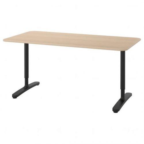 BEKANT БЕКАНТ, Письменный стол, дубовый шпон, беленый/черный, 160x80 см - 792.826.76