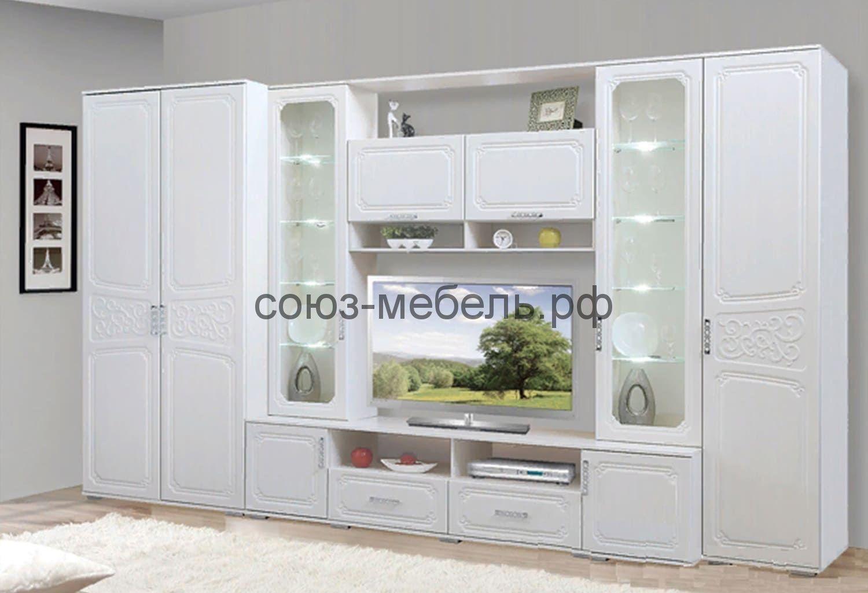 Гостиная Нежность (шкаф №2 (540)+витрина №1+пенал бельевой №4** (340))