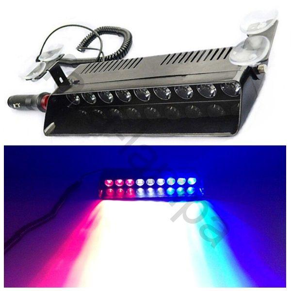 Полицейская мигалка стробоскоп 12 светодиодов под стекло