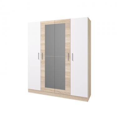 Шкаф 4-х створчатый Леси (Сонома-Белый)