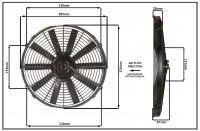 """Осевой вентилятор, 14"""" дюймов, 24 Вольт, 80 ватт,  Толкающий (PUSH) STR160 Вентилятор Для Рефрижераторов"""