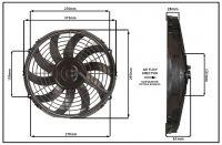 """Осевой вентилятор, 11"""" дюймов, 80 Вт, 24 Вольт, Всасывающий (PULL) STR150"""