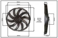 """Осевой вентилятор, 12"""" дюймов, 12 Вольт, 80 ватт,  Всасывающий (PULL) STR153"""