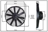 """Осевой вентилятор, 14"""" дюймов, 170 Ватт, 12 Вольт, Всасывающий (PULL), STR 125"""