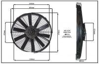 """Осевой вентилятор, 14"""" дюймов, 120 Ватт, 24 Вольт, Нагнетающий (PUSH), STR 124"""