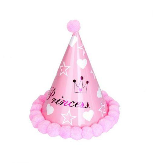 Колпачок с помпонами Принцесса розовый