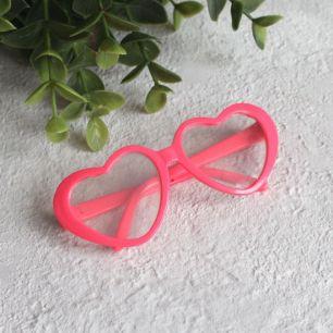 Кукольный аксессуар - Очки с прозрачными линзами ярко-розовые, 8 см.