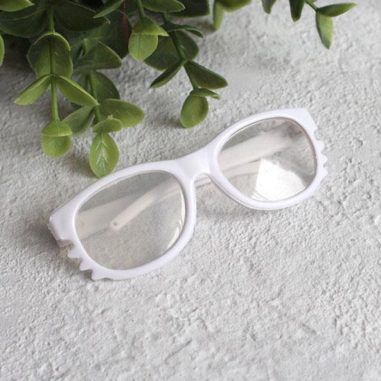 Кукольный аксессуар - Очки с прозрачными линзами белые, 8 см.
