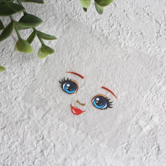 Термонаклейка для декорирования лица куклы с голубыми глазами