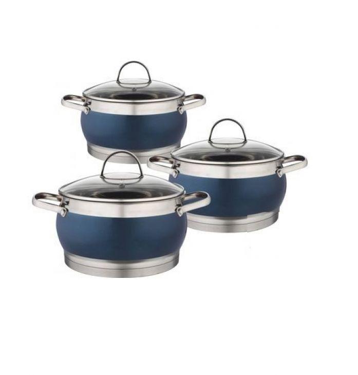 Набор посуды 3 кастрюли HM 5857 синий