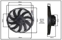 """Осевой вентилятор 12"""" дюймов,170 Вт, 12В,  Нагнетающий(PUSH), STR 115"""