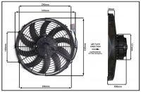 Осевой вентилятор 12 дюймов, 170 Ватт, 12 Вольт, Всасывающий. (PULL), STR 113 Вентилятор для рефрижераторов аналог Spal